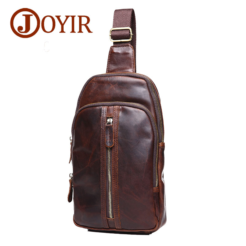 JOYIR Genuine Leather Men Bag Messenger Bag Vintage Flap Men Chest Pack Bag Crossbody Single Shoulder Bags for Men Bolsas Male mva genuine leather men s messenger bag men bag leather male flap small zipper casual shoulder crossbody bags for men bolsas