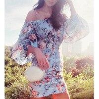 Cosmicchic/2019 летнее модное пляжное платье с принтом, с открытыми плечами, с рукавами фонариками, с высокой талией, в комплекте, высокое качество,