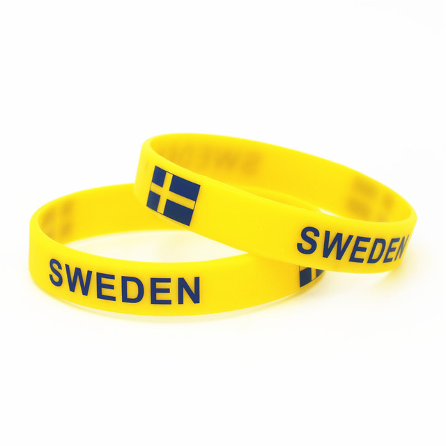 1PC Sweden Country Flag Silicone Wristband Football Soccer Team Fans Sports Elastic Rubber Bracelets&Bangles Armband SH240