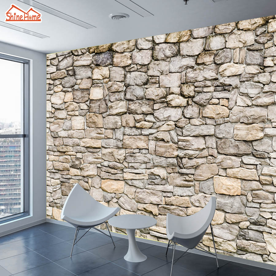 ShineHome-Large Custom Photo Brick Komar Stone Wallpapers Walls 3d Living Room Cafe Bar Shop House Mural 3 d Wall Paper Decor shinehome abstract brick black white polygons background wallpapers rolls 3 d wallpaper for livingroom walls 3d room paper roll