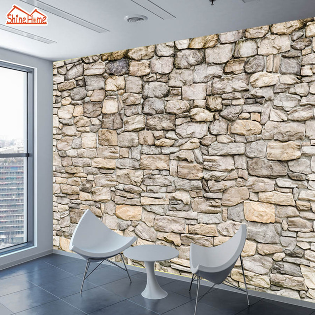 Shinehome Large Custom Photo Brick Komar Stone Wallpapers Walls Living Room Cafe Bar