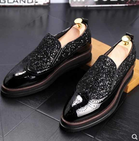 1d94478a792 2018 Male Patent Leather Gold black Italian Glitter Casual shoes Flats Boat  Fashion Sequins Party