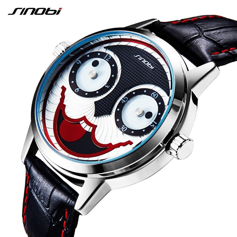 SINOBI Creative Clown Joker Watches Mens Fashion Quartz Watch Leather Wristwtach Waterproof Relogio Masculino 2018 Clock #9749