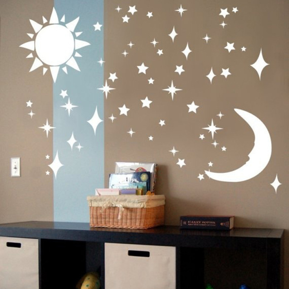 Hot Sale Sun Moon Stars Stickers 3D Stereo DIY Environmentally Acrylic  Mirror Wall Stickers New(