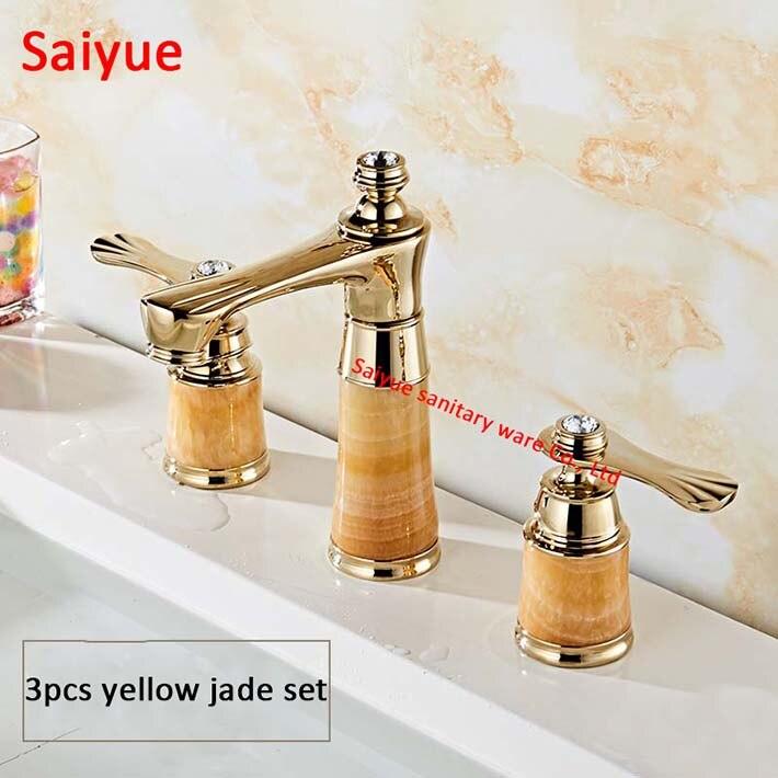 Rose Gold 8 Widespread Yellow Jade Stone Basin Mixer Faucet Copper Dual Handle Three Holes Bathroom Sink Tap Bathtub Shower Set