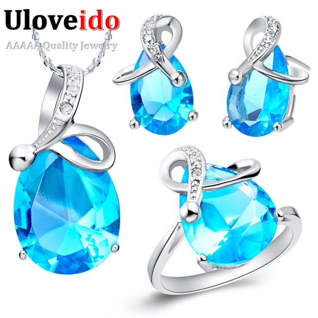 Uloveido prata banhado casamento conjuntos de jóias de noiva roxo/azul cristal colar de strass conjunto de colar brincos anel presentes t070