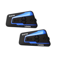 2PCS Lexin with FM Motorcycle Bluetooth Helmet Headsets Intercom for 4 rider talking at the same time BT intercomunicador MP3