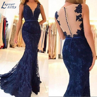 LAYOUT NICEB Charming Illusion Mermaid Evening Dresses Lace Formal Prom Party Dresses for Women Plus Size Gowns