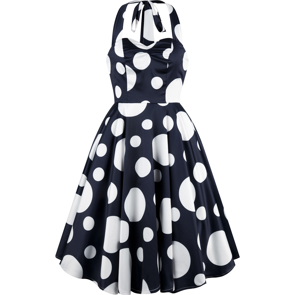 Angel-fashions Halter Polka Dot Sweetheart A-line Short Homecoming Dress R-0707