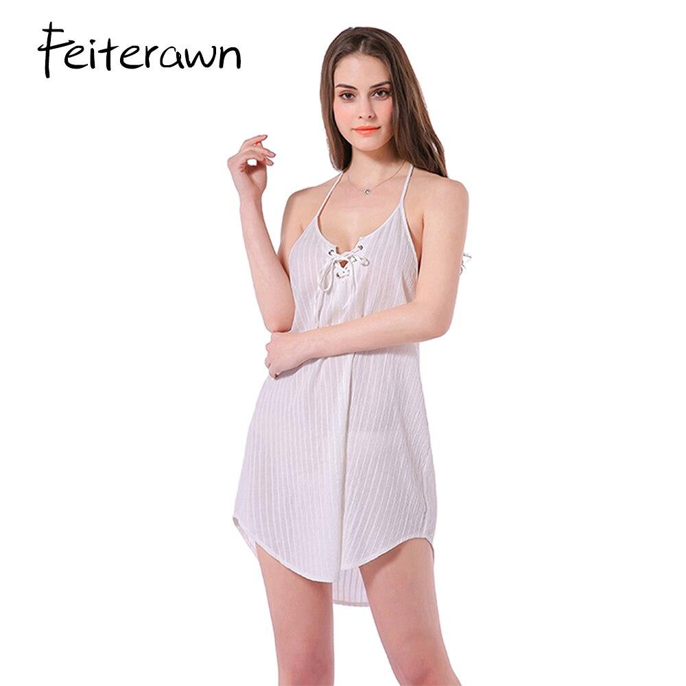 Feiterawn Summer Dress Women V Neck Spaghetti Strap