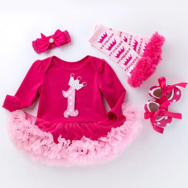Newborn Baby One Birthday Dress Little Girl Long Sleeve Bodysuit Dresses+ Bow Headband +Leggings+Shoes 4pcs Cotton Clothe Set