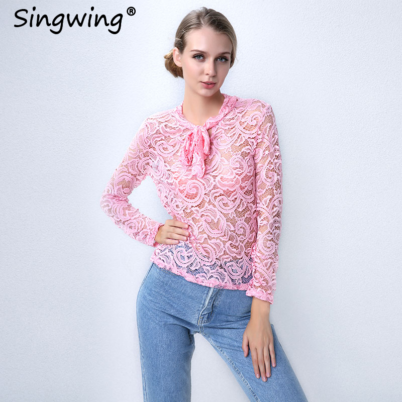 Singwing Lace Bow hollow Out Long Sleeve Women Blouse Autumn Lady Fashion Lace Floral Patchwork Female Blouse Tops