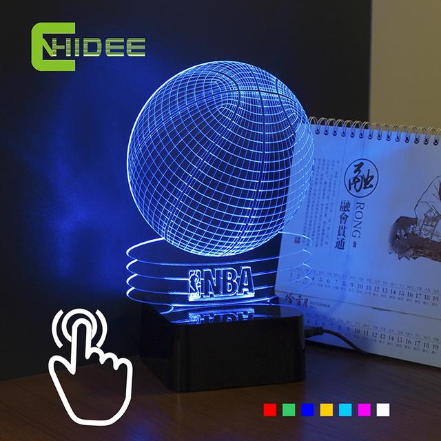 Cnhidee USB novidade 3D Visiual Led noite luz basquete NBA ilusão Led colorido RGB toque lâmpada de mesa , decoração de casa