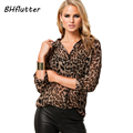 2017 New Fashion Women Leopard Print Shirts Casual Chiffon Tops Long Sleeve European Style Women's Vintage Blouses Plus Size 4XL