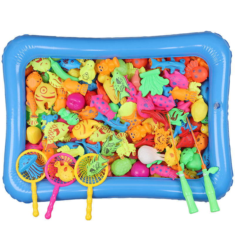 Children's 13-46 Pcs Plastic Magnetic Fishing Game Interactive Toys Kids Fish Baby Bath Toys