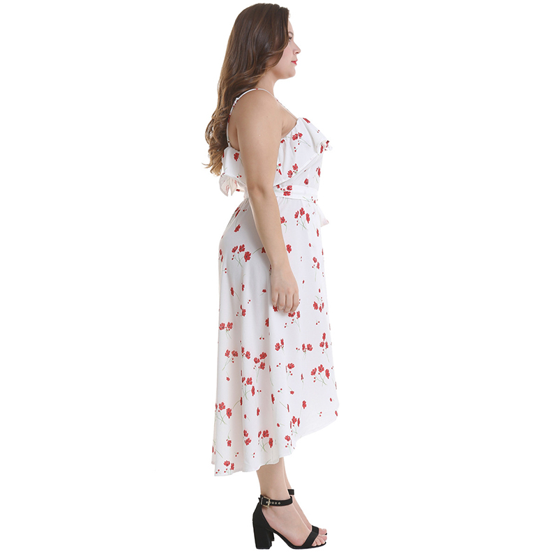 2019 New Spring Floral Print Ruffle Dress Sexy Big Size Women Dresses Casual Sleeveless White Plus Size 4XL Dress in Dresses from Women 39 s Clothing