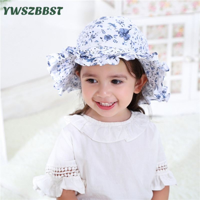 Fashion Spring Summer Baby Hat Grey Blue Double wavy lace Flower Cotton Baby Girls Sun Hat Kids Beach Hat Fisherman Caps