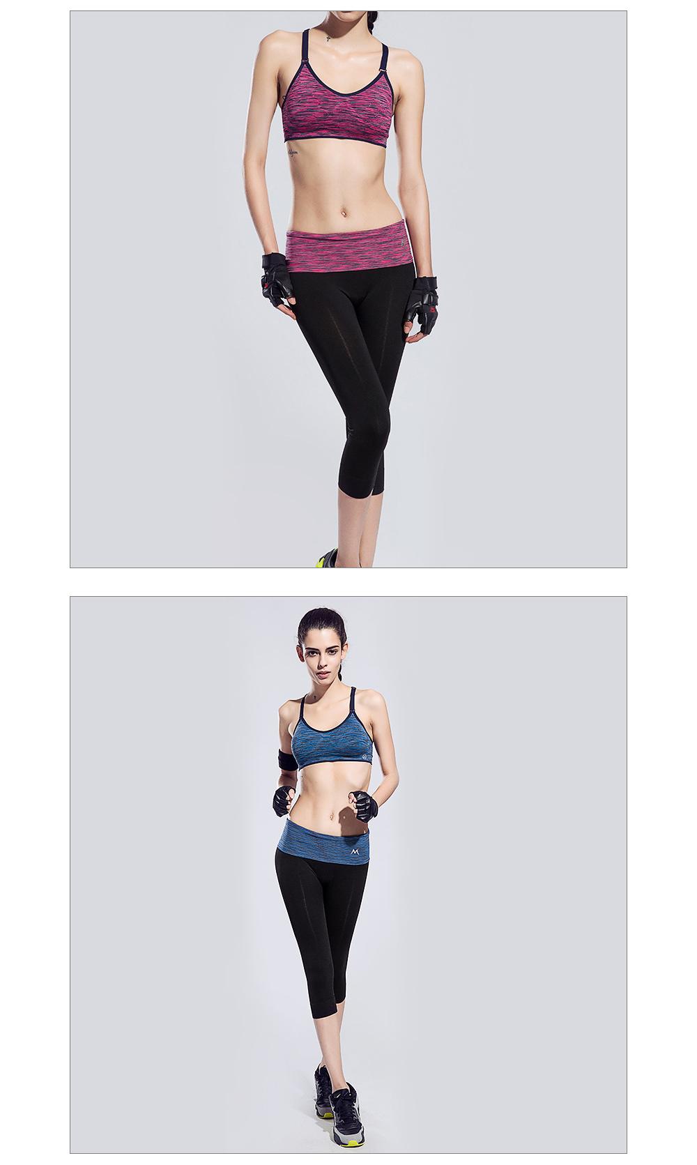 Ensemble de sport pour femme violet et noir / bleu et noir, leggings, brassière, soutien-gorge et T-shirt, yoga fitness pilâtes gym, modèles portés par un mannequin