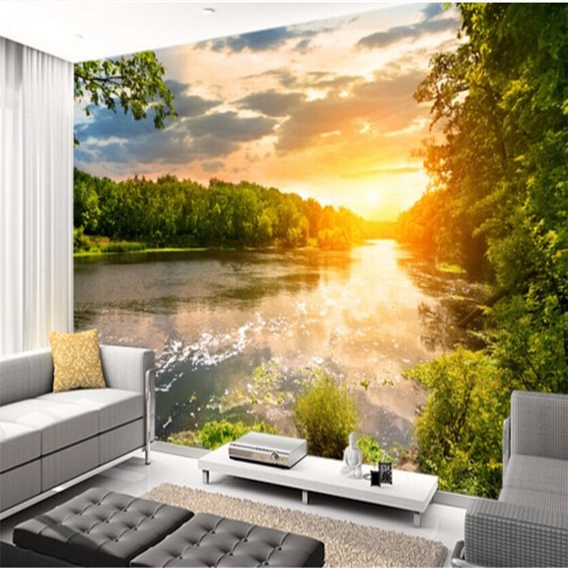 beibehang Customized Wallpapers 3 Tianhe Landscape Sunset 3D Photo Wallpaper Mural Living Room TV Background Wall beibehang modern luxury circle design wallpaper 3d stereoscopic mural wallpapers non woven home decor wallpapers flocking wa