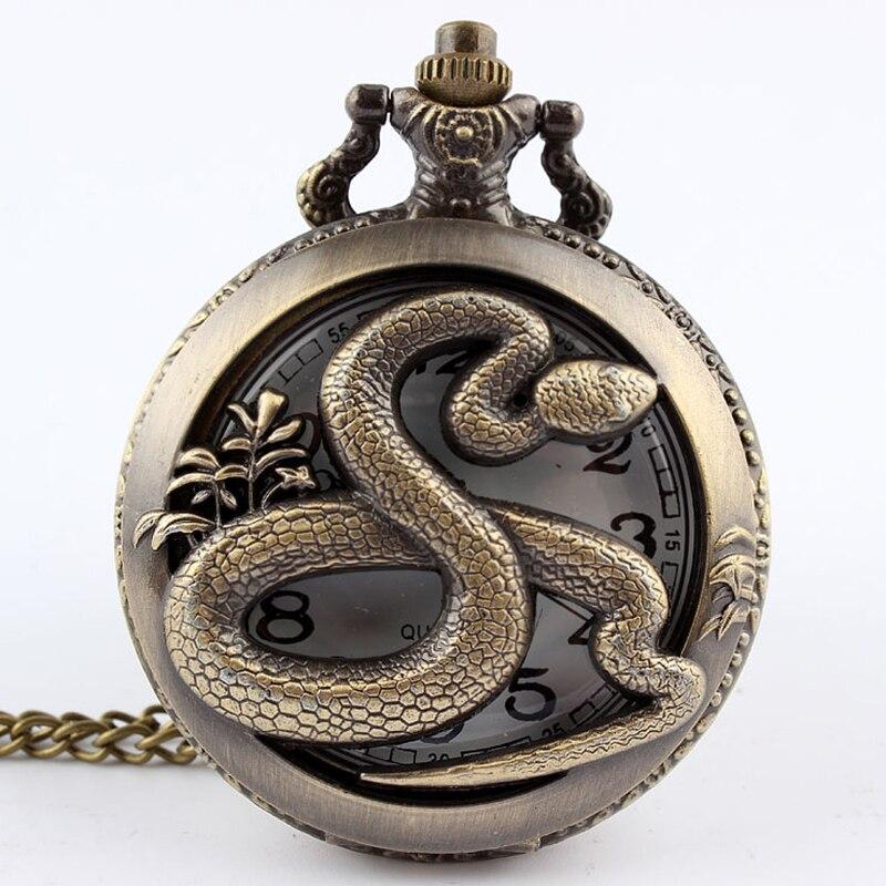 2017 Bronce Antiguo Steampunk Forma de Serpiente Calado Cuarzo Reloj de Bolsillo Collar Colgante Cadena Hombres Mujeres Regalos Relogio De Bolso