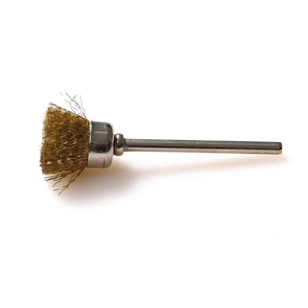 """100Pcs 1/8 '""""3mm gambo spazzola per ruote in ottone spazzola per filo spazzola per tazza compatibile con Dremel Die Grinder strumento rotante"""