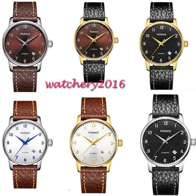 38 Mm Parnis Zwart Wit Bruin Dial Saffierglas Datum Valentines Geschenken Romantische Miyota 8215 Automatisch Uurwerk Horloge