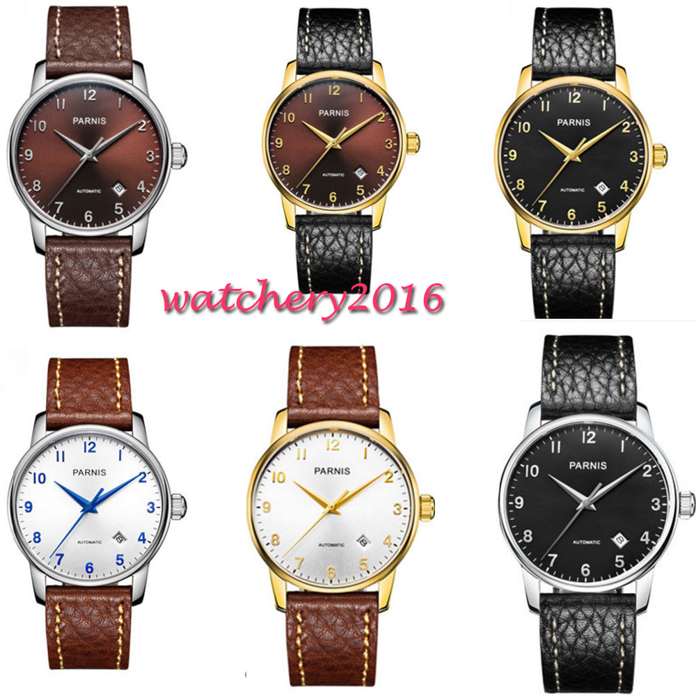 38mm Parnis Black White Brown Dial Sapphire Glass Date Valentines gifts Romantic Miyota 8215 Automatic movement men's Watch 38mm parnis white dial date sapphire glass miyota automatic mens watch p723