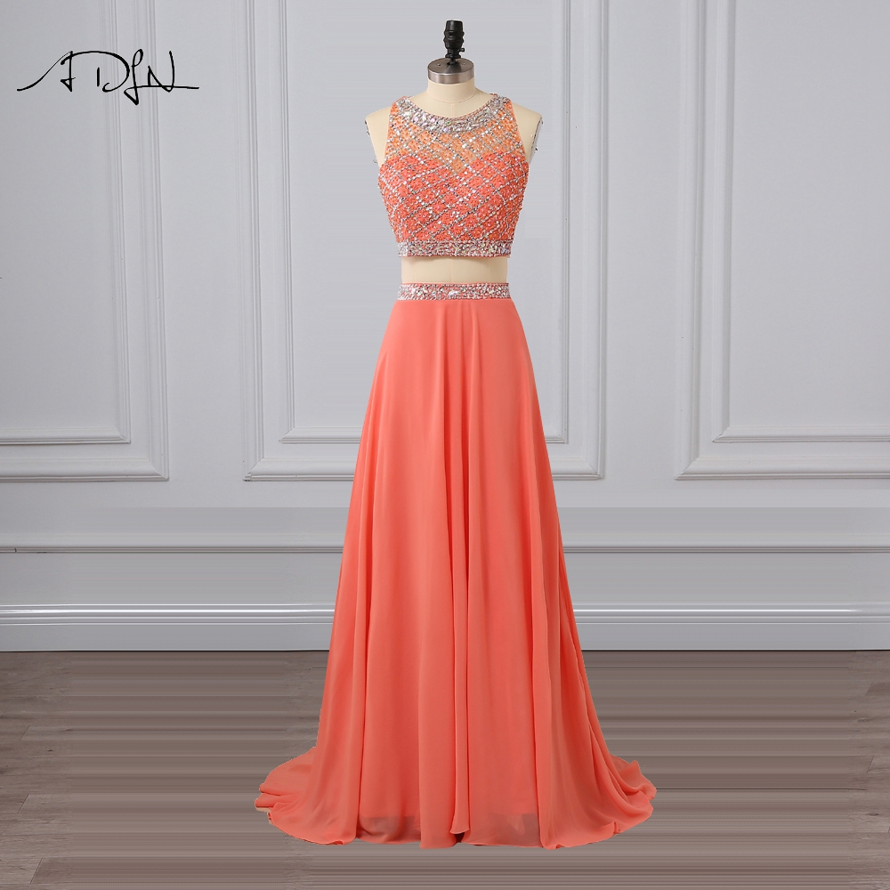 ADLN Two Piece   Prom     Dresses   Candy Color Chiffon Sparkling Coral Evening Party Gown Robe de Soiree Homecoming Wear
