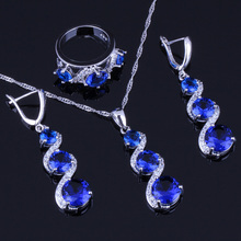 Sweet Round Blue Cubic Zirconia White CZ 925 Sterling Silver Jewelry Sets For Women Earrings Pendant Chain Ring V0030 trendy water drop blue cubic zirconia white cz 925 sterling silver jewelry sets for women earrings pendant necklace bracelet