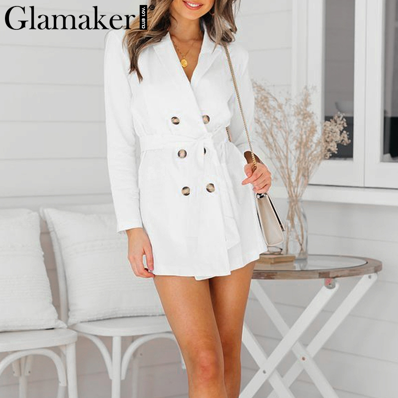 Glamaker Sexy button belt white female coat Women deep v neck elegant party daily long   trench   spring fashion casual outwear new