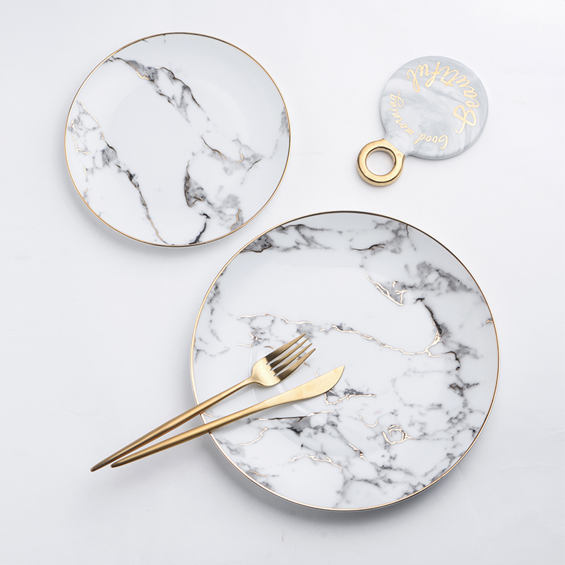 The Nordic style marble plate ceramic gold Western-style food salad steak dessert tray tables home plate