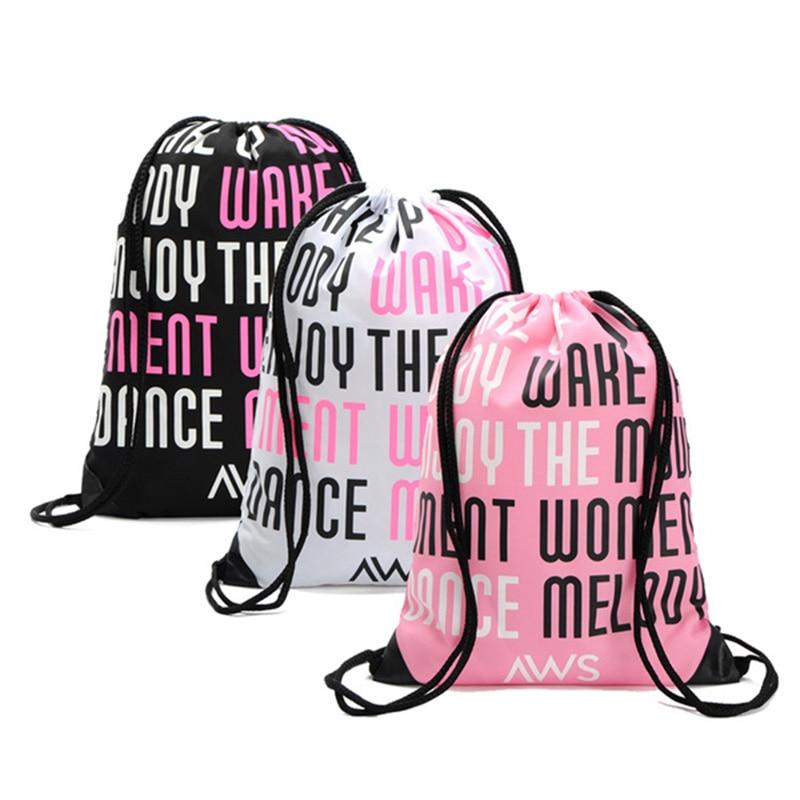 3348139bc Novas mulheres/homem mochila letras impresso saco da forma saco de viagem  mochila escolar mochila cordão corda macia cozy grosso rope380