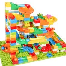 42-183 шт строительные мраморные гоночные беговые лабиринты с шариками, детские игровые блоки, детские игрушки, совместимые с Duploe