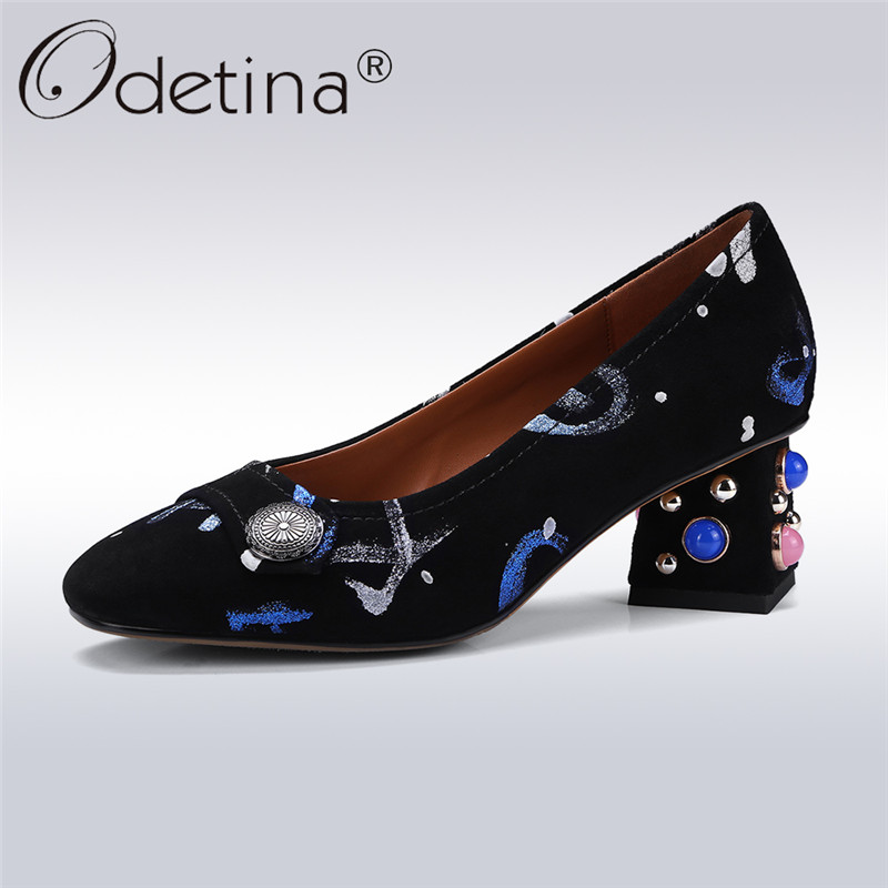 Odetina 2018 New Fashion Women Genuine Leather Pumps Square Toe Slip On Shoes Ladies Square High Heels Elegant Pumps Big Size 43 nayiduyun women genuine leather wedge high heel pumps platform creepers round toe slip on casual shoes boots wedge sneakers