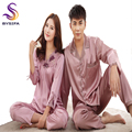 New Brand Solid Red Lovers Silk Pajamas Set Fashion Home Apparel Couples Nightwear Pajamas Spring Autumn Long Satin Pajamas Set