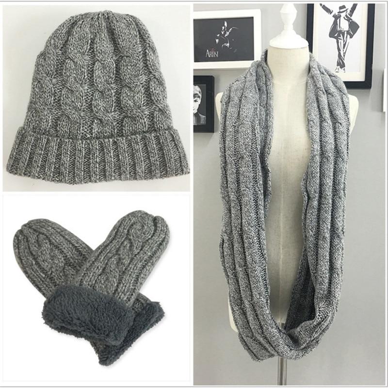 Knitting Thick Velvet Men's Hat Scarf Glove Sets Crochet Warm Winter Scarves 3piece Set Men Fashion Accessories Gorras Hombre