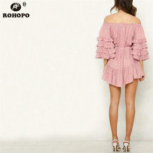ROHOPO Pink Multiways Pleated Dress Layers Butterfly Sleeve Ruffles Polk Dot Maxi Cake Autumn Holiday Vestido #YY285C