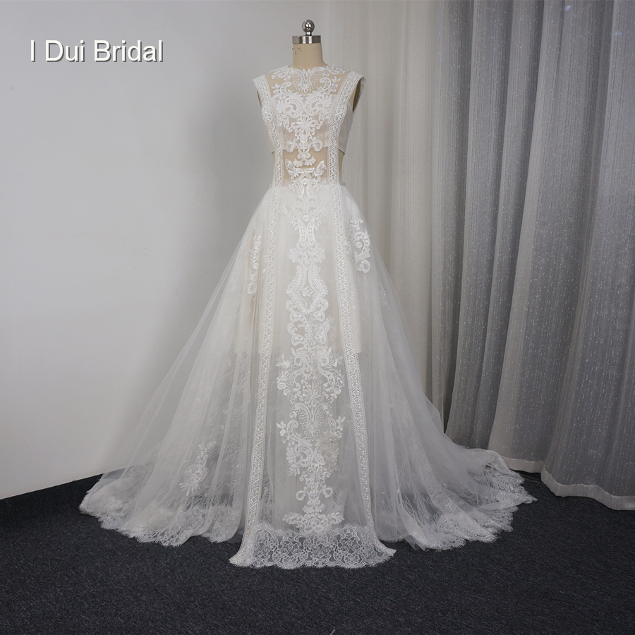 Lace Illusion Wedding Dresses Sexy New Style Real Photo Factory Custom Made Bridal Gown