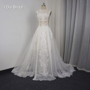 Image 2 - Lace Illusion Wedding Dresses Sexy New Style Real Photo Factory Custom Made Bridal Gown