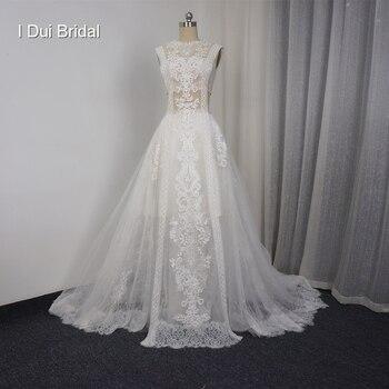 Рукавов линии Кружева Иллюзия Свадебные Платья Новый Стиль Реальные Фото Фабрики На Заказ Свадебное Платье