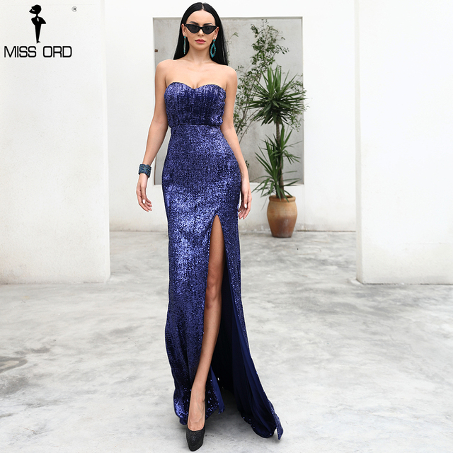 Missord 2019 Sexy BRA Off Shoulder Sequin High Split Female Reflective Dress Maxi Elegant Party Dress Vestdios FT9188 4