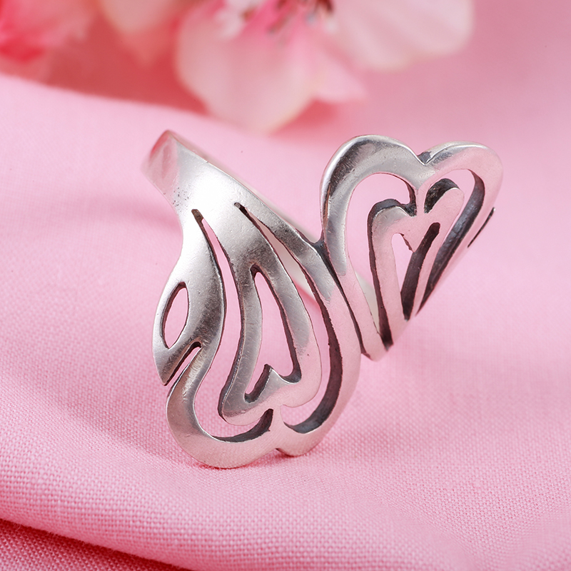 990 silver ring hollow retro fashion lady personality auspicious clouds silver ring finger ring