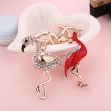 Delicate Double Flamingo Bird Key Chains Rings Holder For Car Crystal Rhinestone Bag Pendant For Women Keyrings KeyChains недорого
