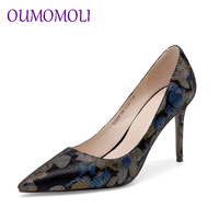 2019 spring autumn new pointed Retro sheepskin high heels blue black color matching single shoes banquet shoes size 34 39 d744