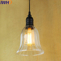 IWHD Glass Hanglamp Vintage Pendant Lights Loft Industrial Retro LED Hanging Lamp Bedroom Kitchen LamparasI Home