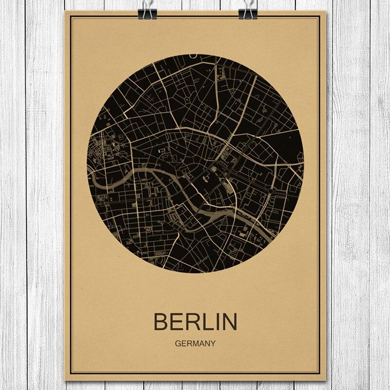World City Karte Deutschland Berlin Klassische Vintage Poster Kraftpapier Wandaufkleber Cafe Wohnzimmer Wohnkultur Kunst