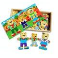 Cartoon Three Bears Dress Changing Dressing Jigsaw Wood Puzzle Toy for Children Kids Baby Intelligence Development HT2915