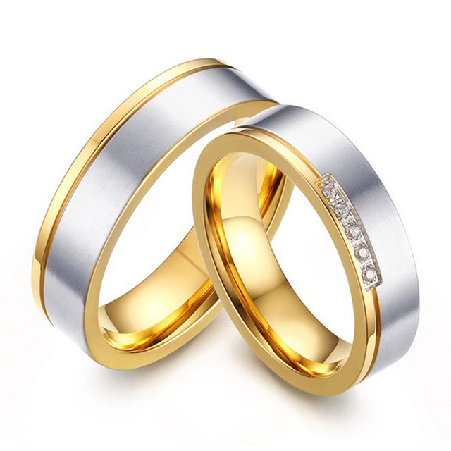 new fashion gold style western titanium steel couple engagement wedding rings sets for men and women - Western Style Wedding Rings
