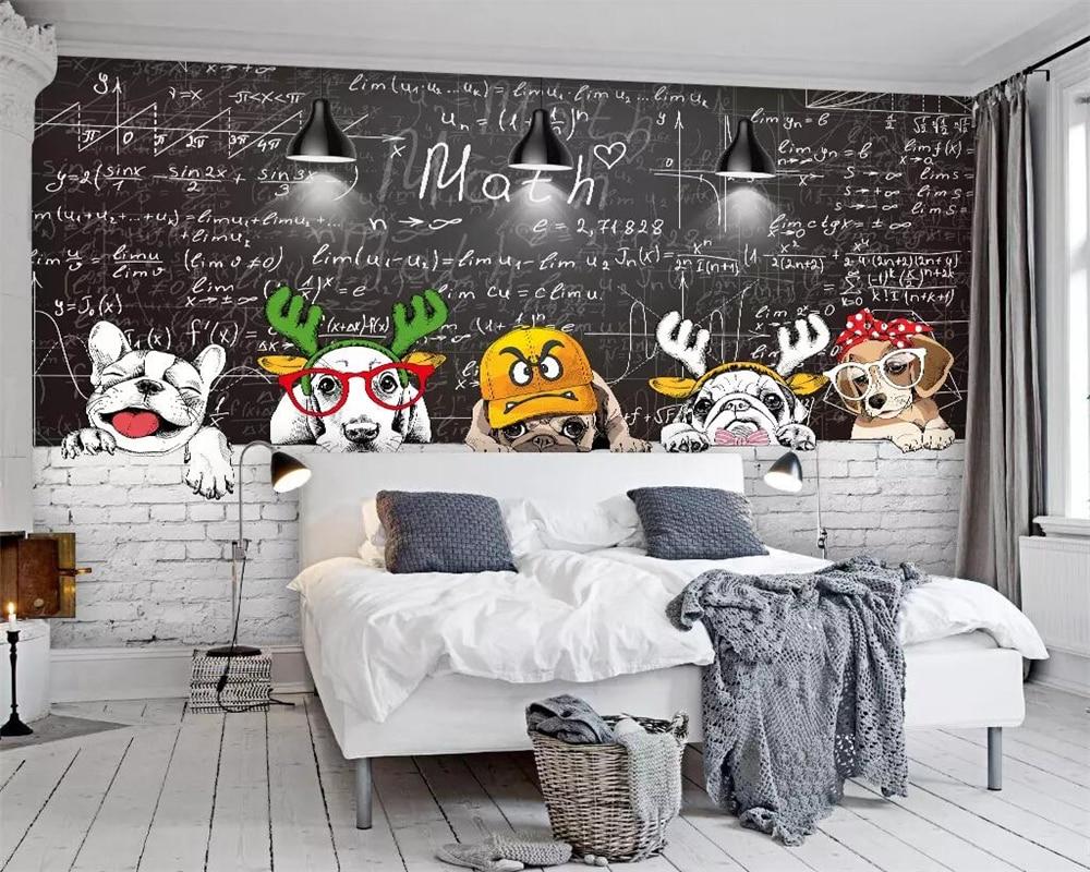 beibehang Custom wallpaper simple Nordic cute animal blackboard mural restaurant living room wall decoration 3d wallpaper murals