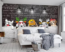 beibehang Custom wallpaper simple Nordic cute animal blackboard mural restaurant living room wall decoration 3d murals